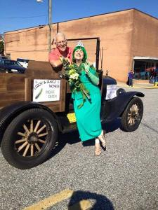 FINE BRINE--Special guest star LeRoy McNees and wife Jan (aka HRH Pickle Queen) are ready for the parade in at the Mayberry Comes to Westminster (S.C.) festival  earlier this month.