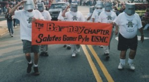 MAKES YOU THINK--Shelton is the first buckethead on the left leading the Barney chapter march in the 2003 Mayberry Days parade.