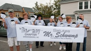 Shelton leading the Barney chapter contingent at the Mayberry Days parade. Photo by Hobart Jones.