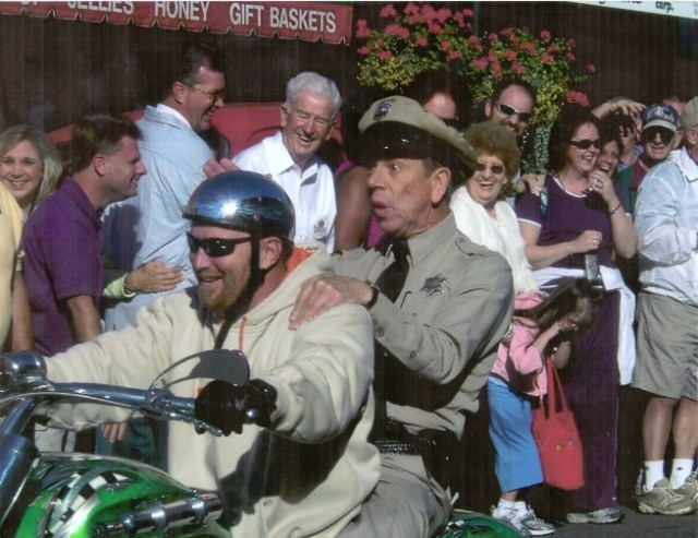 Mayberry Days Parade 2007.  Spot the happiest Face in the Crowd, and that would be Blake Clark, late of Barney Chapter (Greensboro, N.C.).  Also known to some of us as Dad.