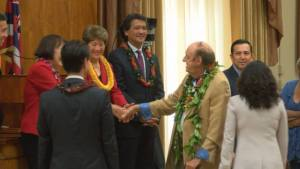 ALOHA & HOWDY--Jim Nabors being honored by the Honolulu City Council.