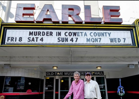 Director Gary Nelson (left) and producer Dick Atkins in Mount Airy on July 19 for the screening of their 1983 hit TV movie starring Andy Griffith and Johnny Cash.  Photo by Hobart Jones.
