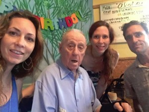 TIME TO CELEBRATE 98--Richard O. Linke with daughters Katharine and Bettina and son Dick Jr. at his birthday party.