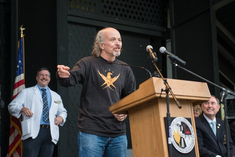 YES, THANKS, LEON!--Clint Howard addresses the crowd during the Mayor's Proclamation...to the delight of at least one local barber. Photo by Hobart Jones.