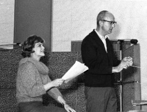ACROSS THE YEARS--Marjorie Lord and Earle Hagen working on the narration and orchestration of their 1962 album Claudia's Letter: The Authentic Letter Written by the Wife of Pontius Pilate.