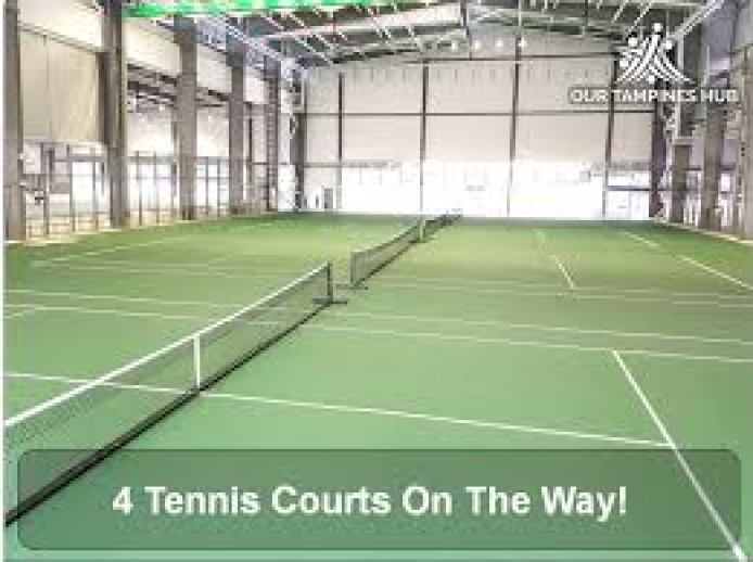 Our Tampines Hub - 4 public indoor tennis courts for your private tennis lessons with the tennis coaches of TAG International Tennis Academy