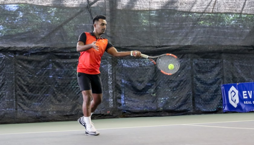 Coach Pratim's forehand. Right up to this point, it is still impossible to make out if he is going to hit the ball cross court or up the line.