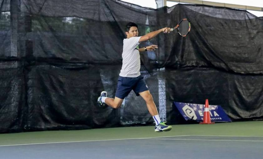 TAG Coach Jeremy hits a powerful inside out forehand