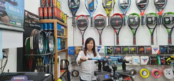 ATP Tennis Stringer in Singapore Sharon Yeo of String-Fix, conveniently located in the Central Business District