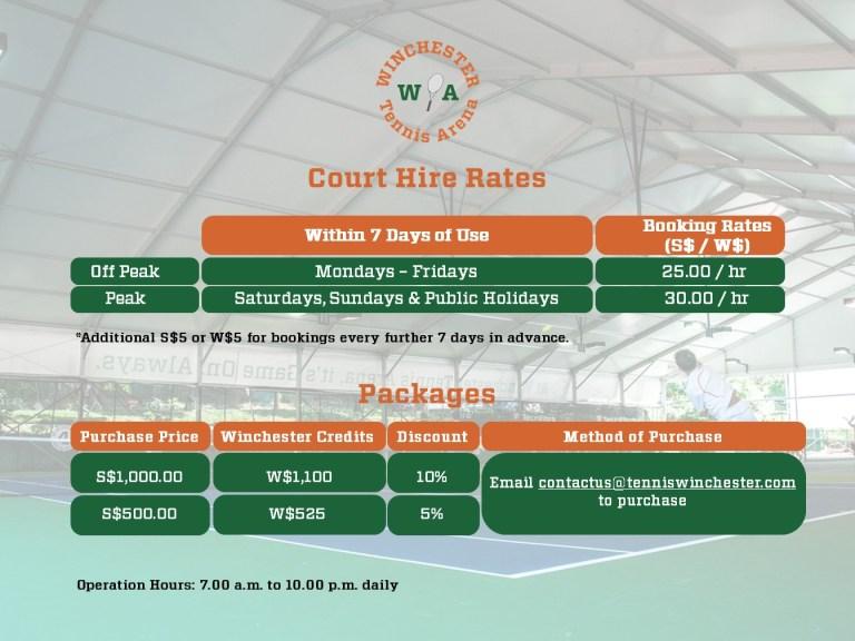 Winchester Tennis Arena, Indoor Tennis Court Booking Rates (2021)