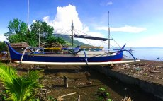 Perahu (local fishing boat) on the Beach in Lesah Town.