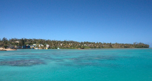 View of Aitutaki's small harbor from our anchorage