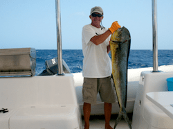 Frank holding latest Mahi Mahi catch