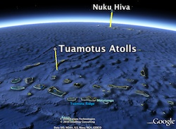 Map showing Tuamotus and Niku Hiva