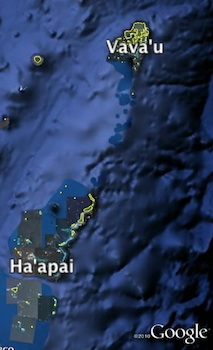 Map of northern islands of Tonga including Ha'apai
