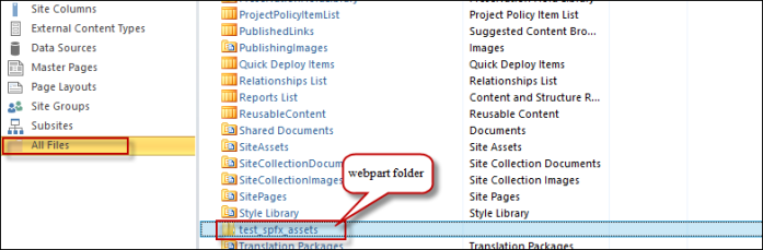 Fig: The Web-part folder under the site collection root folder
