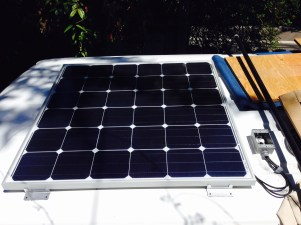 A Renogy 150 watt solar panel fit perfectly into the roof channels
