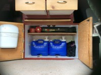 8 gallons of water, camp stove, fuel, etc.