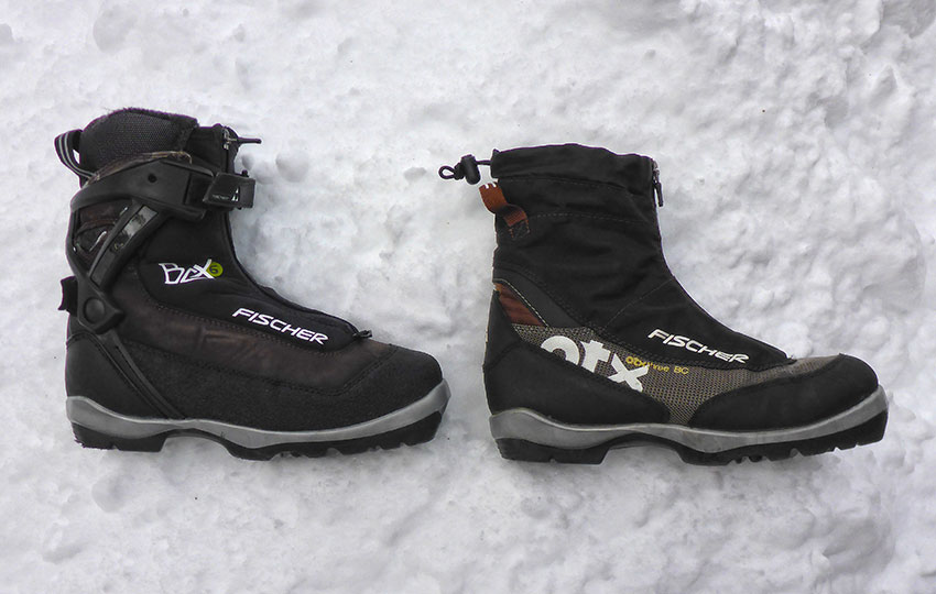 Fischer BCX 6 (NNN BC version) and OTX 3 (NNN BC version). Both boots fit an NNN BC binding system, but the BCX 6 version provides more ankle support. I use the BCX 6 with 88 mm wide cross-country skis and the OTX 3 skis with 62 mm wide cross-country skis. © Jared Manninen
