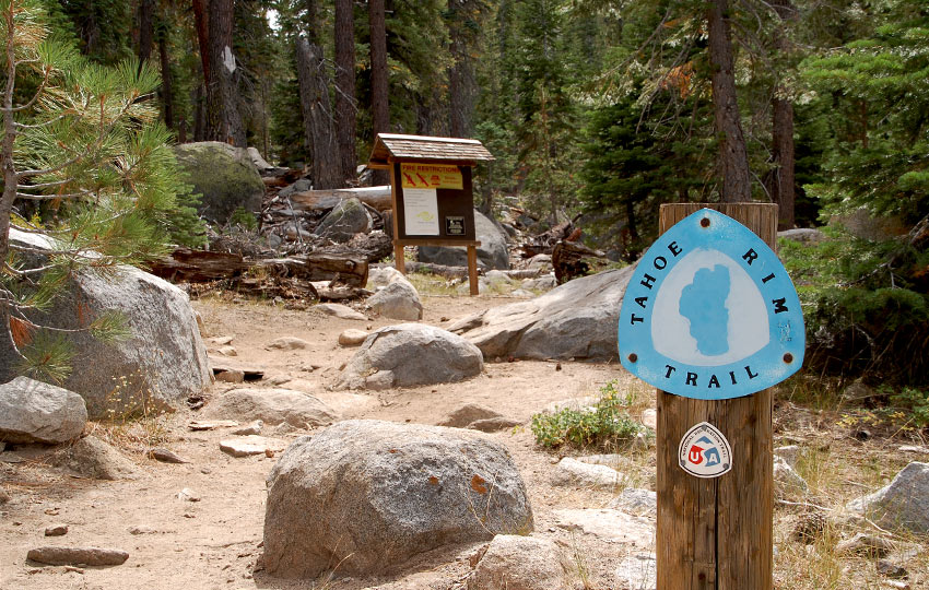 Tahoe Rim Trail signpost at the Big Meadow trailhead