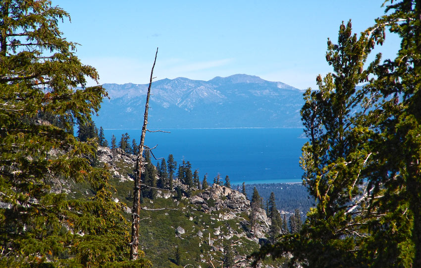 Lake Tahoe seen through the forest and mountains
