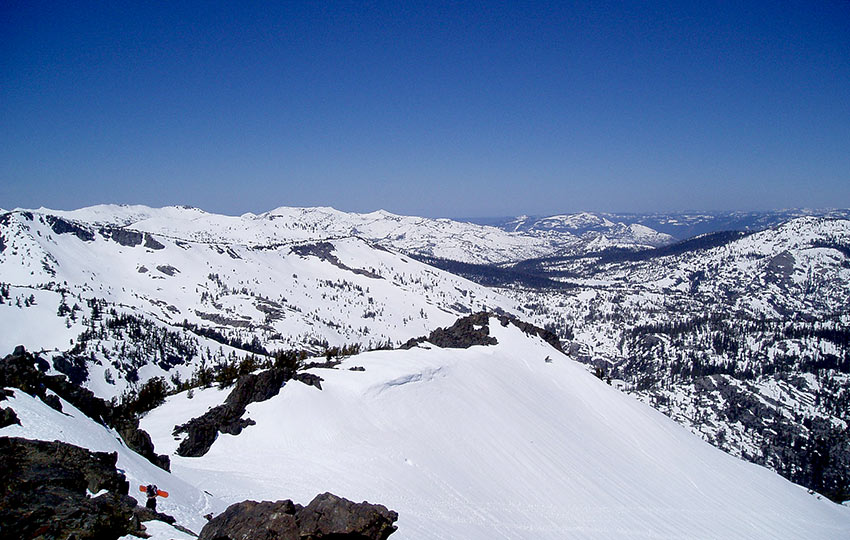 Snow-covered mountains in Desolation Wilderness
