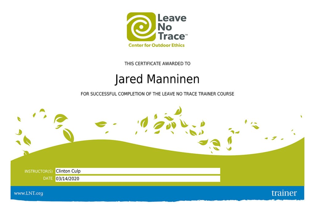 Leave No Trace Trainer Certification for Jared Manninen