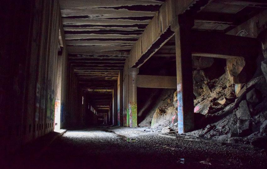 Abandoned train tunnels