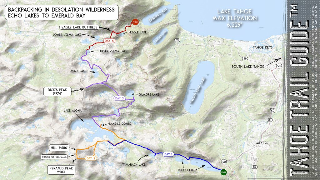 Map for backpacking in Desolation Wilderness at Lake Tahoe