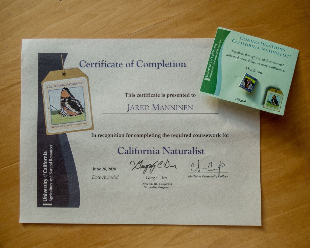 California Naturalist Certificate and Pin of Completion