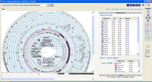 IB.ATR čitanje tahografskih listića skeniranih prikaz sučelja