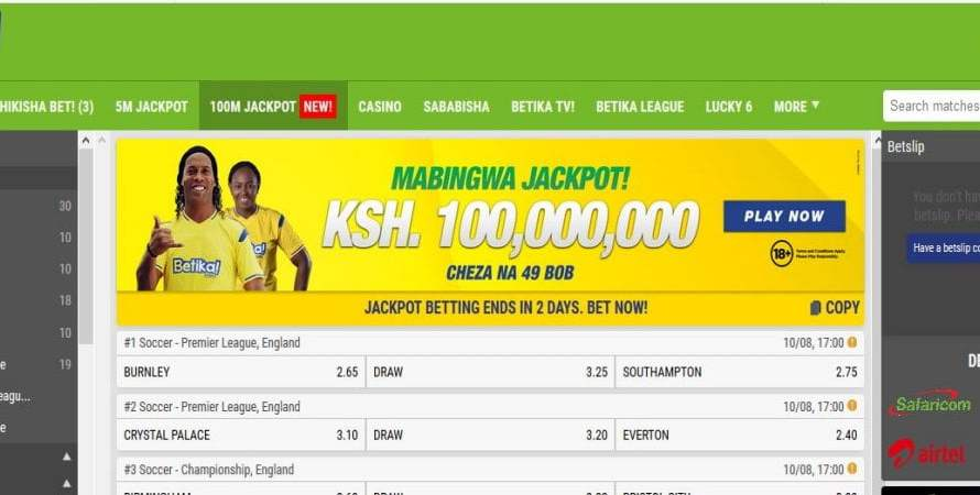 24th & 25th August Betika Mabingwa Jackpot Predictions