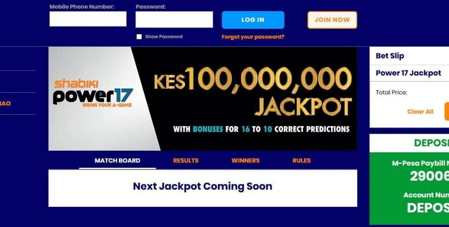 Shabiki Power 17 Jackpot Results, Bonuses and Jackpot Winners