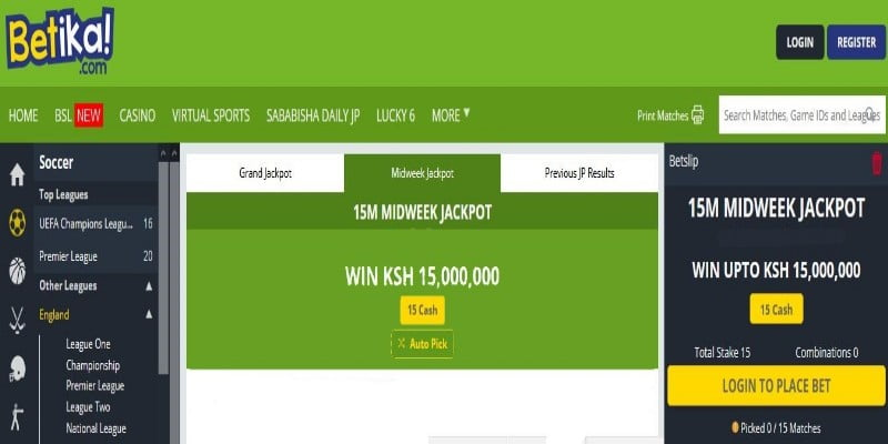 Betika Midweek Jackpot Prediction