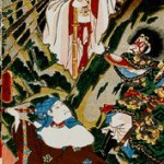 "A crop of the Kunisada woodblock print ""Origin of Iwato Kagura Dance"""