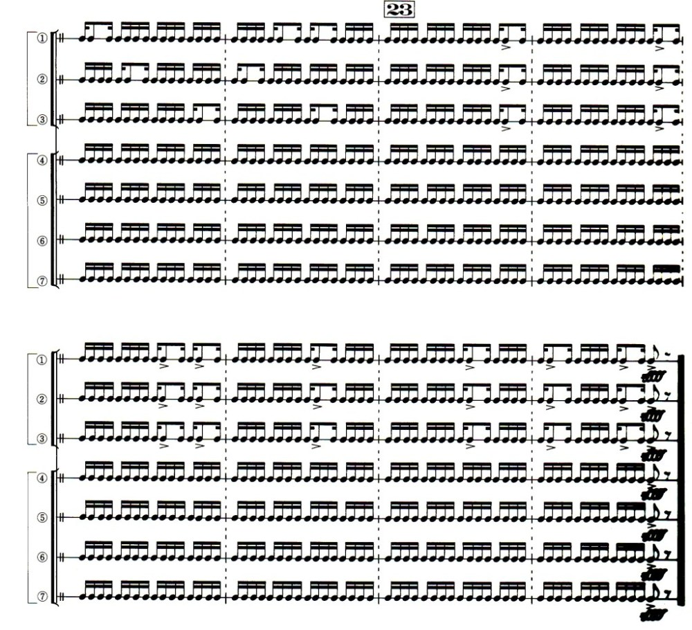 "The final measures of ""Monochrome."" The top three lines are played on nagadō-daiko; the bottom three, shime-daiko. (Ishii 1989)"