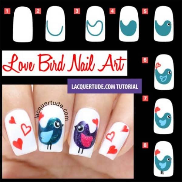 Amusing And Cute Love Birds Nail Art Designs