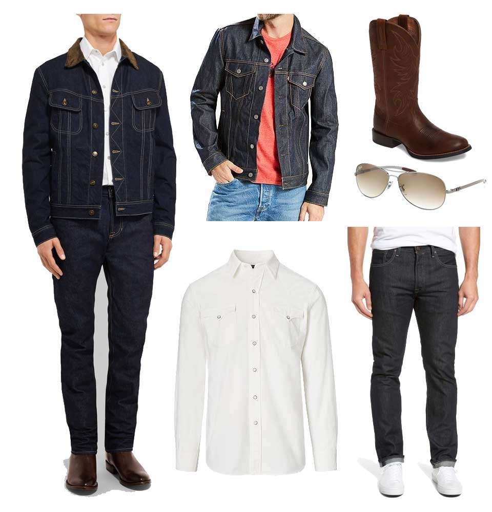 A less expensive version of a Kingsman style denim casual outfit