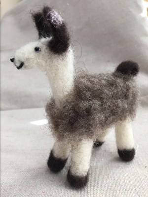 Larry the Llama, felted critter