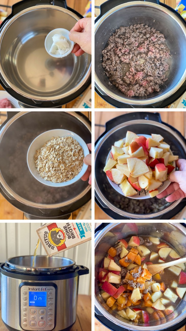 a collage with the step by step on how to prepare the beef picadillo using an Instant Pot