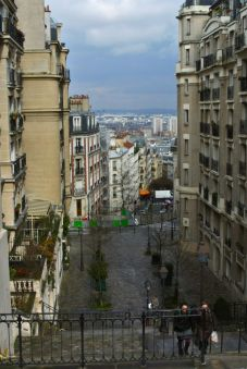 Looking down one of the steep hills from Montmartre