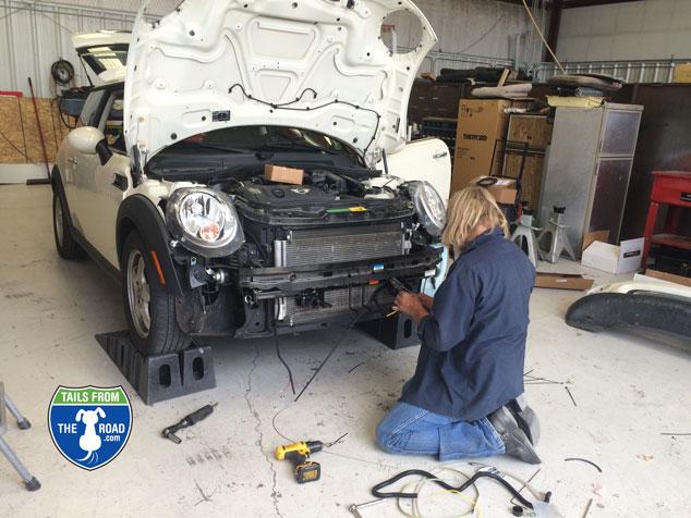 Irish at Tom's RV wiring the Mini Pearl