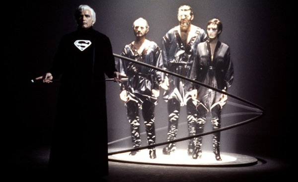 Jor El (Marlon Brando) puts General Zod on trial in 'Superman II'