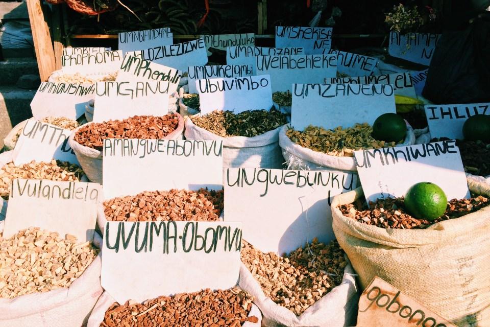 Traditional African muti at the Muti Market