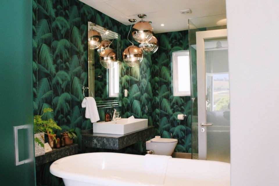 The dreamy bathroom in the Palm Room at the Franschhoek Boutique Hotel
