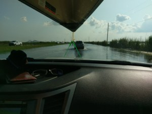 Driving flooded streets in Houston