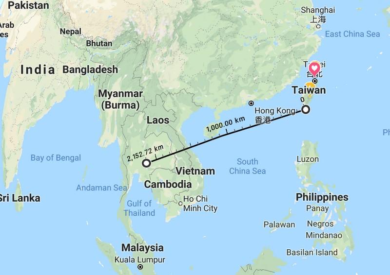 Thailand to Taiwan
