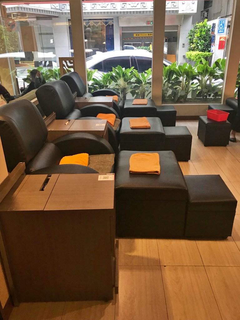 Foot massage area at Kinraku in Taipei.
