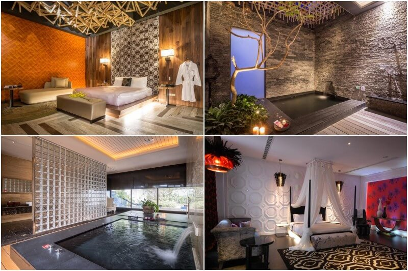 Mulan Motel in Taichung provides hot spring pools, king-sized beds and private garden areas.