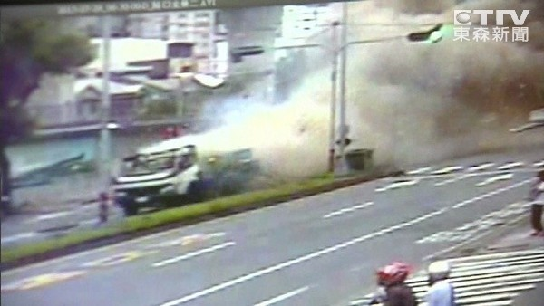 A truck explodes on a busy street in Taichung City